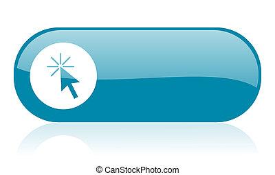 haga clic aquí, azul, tela, brillante, icono