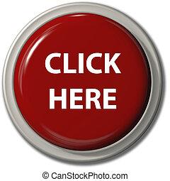 haga clic aquí, botón rojo, deje caer la sombra