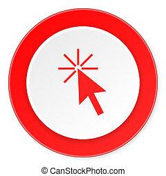 haga clic aquí, rojo, círculo, 3d, moderno, diseño, plano, icono, blanco, plano de fondo