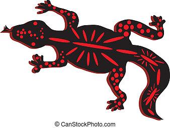 hagedis, zwart rood