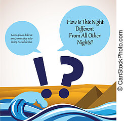 haggadah question song. passover card with Egypt background
