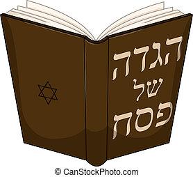 Haggdah Book For Passover - Vector illustration of Haggadah...