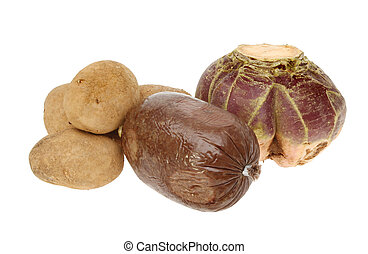 Haggis neaps and tatties - Ingredients for a traditional...