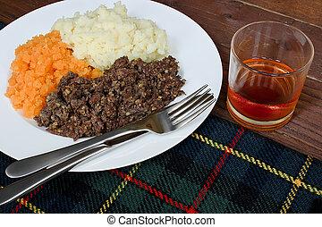 Haggis neeps and tatties - Traditional Scottish haggis,...