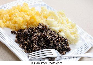 Haggis tatties and neeps - A traditional Scottish haggis...