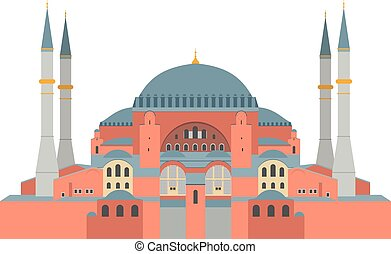 hagia, illustration., estambul, (turkey), vector, sophia