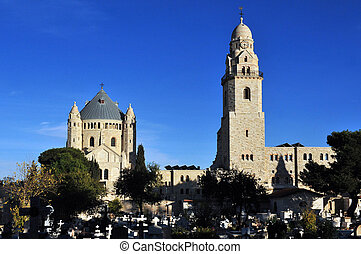 Hagia Maria Sion Abbey church in Mount Zion. Jerusalem, ...
