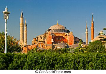 Hagia Sofia and Garden in Istanbul