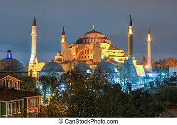 Hagia Sofia at night in Istanbul, Turkey