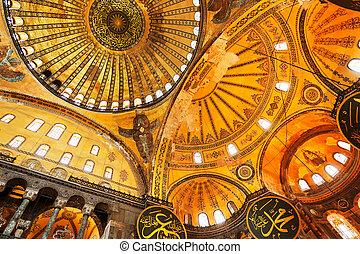 Hagia Sofia Mosque - Decorative interior of the Beautiful...