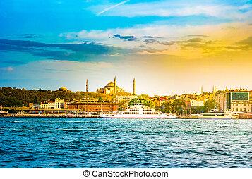 Hagia Sophia and Beautiful View touristic landmarks from sea voyage on Bosphorus.
