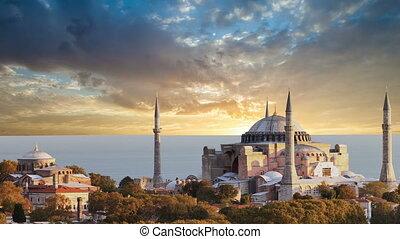 hagia sophia, in, istanbul., de wereld, beroemd, monument,...