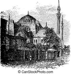 Hagia Sophia in Istanbul, Turkey, during the 1890s, vintage engraving. Old engraved illustration of the Hagia Sophia.