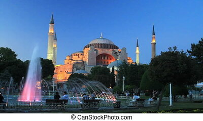 Hagia Sophia in Night - A sultanahmet night in front of...