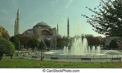 Hagia Sophia Istanbul - Sultanahmet park with fountain in...