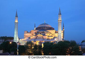 Hagia Sophia mosque illuminated at night. Istanbul Turkey