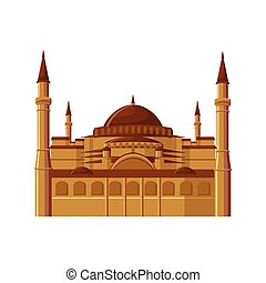 Hagia Sophia museum in Istanbul, Turkey isolated on white background.