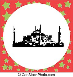 Hagia Sophia museum or Ayasofya Muzesi in Istanbul, Turkey vector illustration isolated on round white background with stars