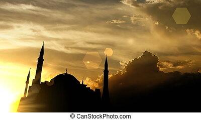 """Hagia Sophia, Turkey over sunset, 3d animation."""