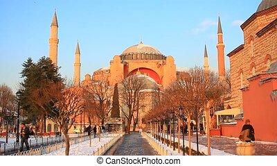 Hagia Sophia. Winter View - Hagia Sophia, famous historical...