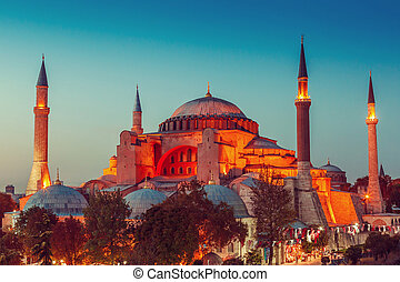 Hagia Sophia with sunset on a background - Hagia Sophia with...