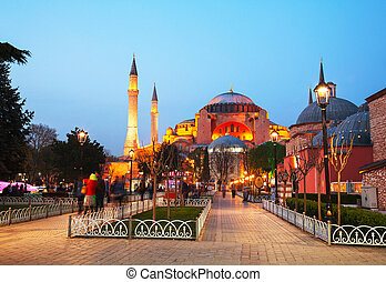 hagiasophia, in, istanbul, turkiet, tidigt, in, den, kväll