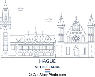 hague, 都市, netherlands, スカイライン