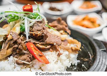 hagyományos, élelmiszer, koreai