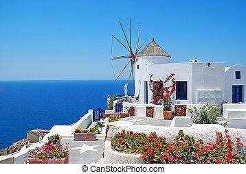 hagyományos építészet, közül, oia, falu, -ban, santorini sziget, alatt, görögország