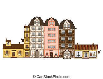 hagyományos, épület, alatt, európa