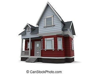 hagyományos, épület, faanyag