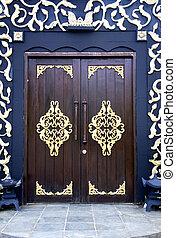 hagyományos, épület, maláj, ajtók
