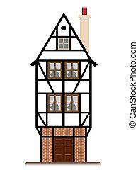hagyományos, épület, villaház, elszigetelt, fachwerk