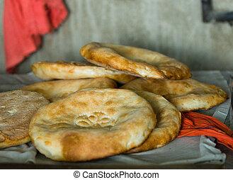hagyományos, üzbég, flatbread