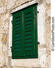 hagyományos, ablak, falu