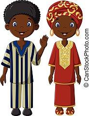 hagyományos, afrikai, jelmez, gyerekek