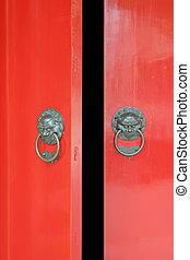 hagyományos, ajtó, ázsiai, nyílás