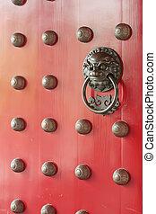 hagyományos, ajtó, piros, kínai