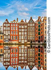 hagyományos, amszterdam, holland, épületek
