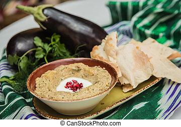 hagyományos, arab, padlizsán, bemárt, baba, ganoush