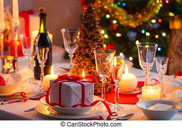 hagyományos, asztal, dishware, karácsony