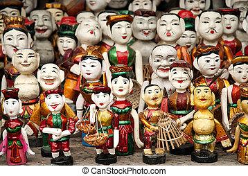 hagyományos, bábu, vietnam, hanoi
