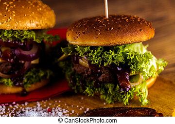 hagyományos, burgers, amerikai, kerti-parti