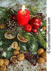 hagyományos, christmas dekoráció