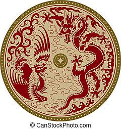 hagyományos, díszítés, kínai