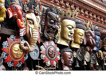 hagyományos, fából való, maszk, kathmandu, nepál
