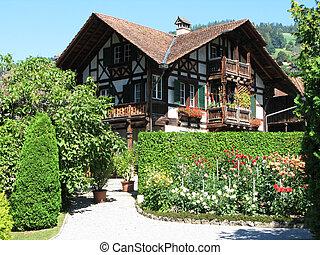 hagyományos, fából való, svájci, épület