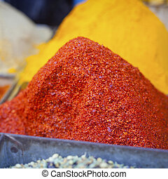 hagyományos, fűszeráruk, piac, alatt, india.