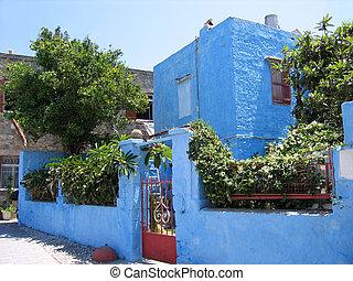hagyományos, görög, épület