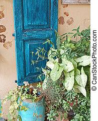 hagyományos, görög, belépés, épület